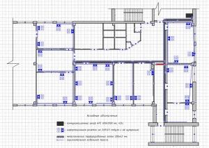 План помещения с размещением рабочих мест.  Схема расположения оборудования в коммутационном шкафу.